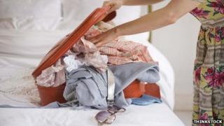 Woman packing bags