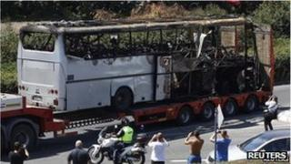 The aftermath of a suicide bomb attack in Burgas, Bulgaria (July 2012)