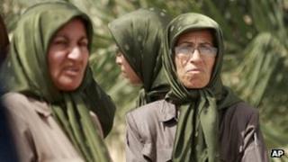 Female members of the People's Mujahideen Organisation of Iran (PMOI) at Camp Hurriya (Liberty) in September 2012