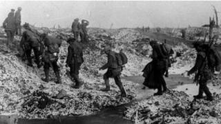 British soldiers along the River Somme in late 1916