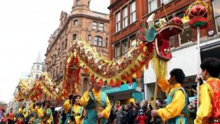 Performers during a parade in central London to celebrate the Chinese New Year