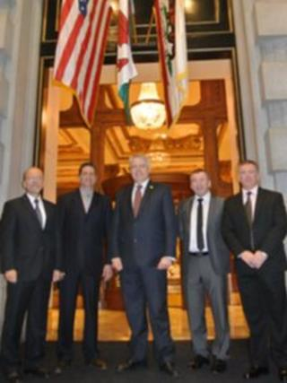 Carwyn Jones in San Francisco with officials from T&T Salvage and Hydro Industries