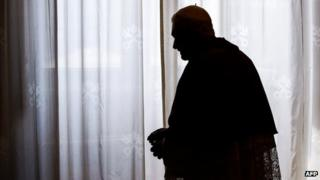 Pope Benedict in silhouette