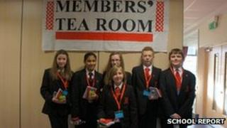 Highcrest Academy School Reporters in a makeshift Members' Room