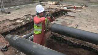 Heating pipes being laid