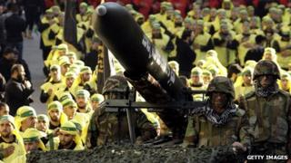 Lebanese Shiite Muslim Hezbollah militants during annual parade (28 November 2012)