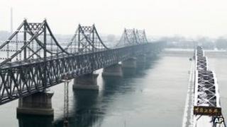 The Yalu bridge, right, next to the Friendship Bridge linking China and North Korea, in Dandong, China, on 13 February 2013