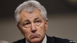 Chuck Hagel giving testimony on Capitol Hill on 31 January 2013