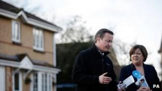 Prime Minister David Cameron with Maria Hutchings in Eastleigh