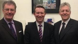 Nigel Lutton with Mike Nesbitt and Peter Robinson