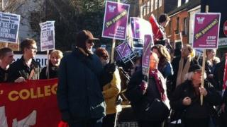 People protesting against Marine Le Pen, Cambridge