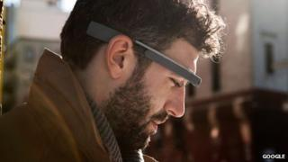 A man wearing Google Glass
