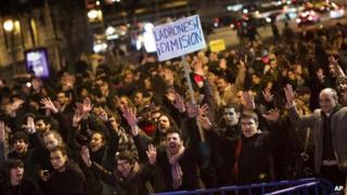 Protest against corruption in Madrid on 31 January 2013