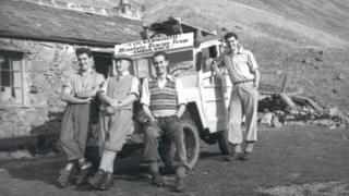 Team members at Black Sail, Ennerdale, in the 1950s