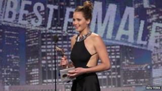 Actress Jennifer Lawrence accepts the best female lead award for Silver Linings Playbook at the 2013 Film Independent Spirit Awards
