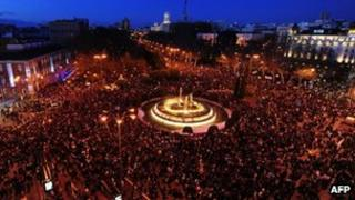 General view of Neptuno Square in Madrid during an austerity demonstration on Saturday 23 Feb 2013