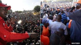 L: Uhuru Kenyatta at a rally R: Raila Odinga at a campaign rally