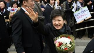 South Korea's new president, Park Geun-hye, on the way to her inauguration ceremony in Seoul, South Korea, 25 February 2013