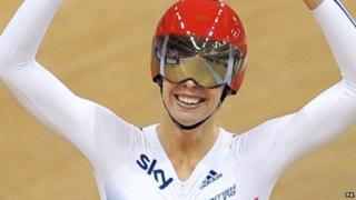 Becky James celebrates Gold in the sprint on day four of the UCI Track Cycling World Championships.