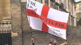 EDL banner raised at protest in Cambridge