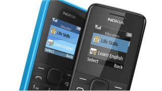 Nokia 105 mobile phone. It is a classic style mobile phone with a small screen and alphanumeric keypad. The housing is cyan blue.