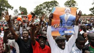 Raila Odinga's supporters at a rally on 23 February 2013
