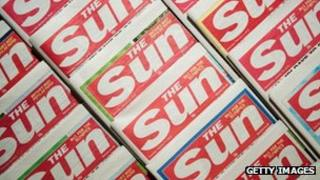 Copies of the Sun newspapers