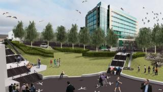 Proposed picture of slides outside Newcastle United's football ground