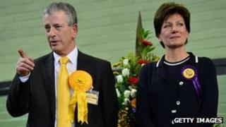 Lib Dem candidate Mike Thornton and UKIP candidate Diane James