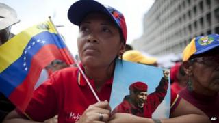 "Supporters of Hugo Chavez attend a rally on 27 February commemorating the violent street protests of 1989 known as the ""Caracazo"""