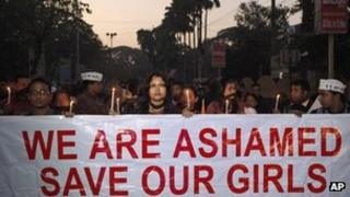 a procession to protest the gang rape of a woman in Delhi in December