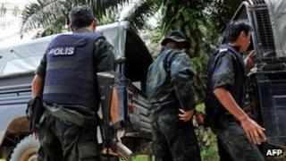 Malaysian commandos in in Tanduo village near Lahad Datu, Sabah (1 March 2013)