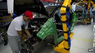 Peugeot production line in Brazil