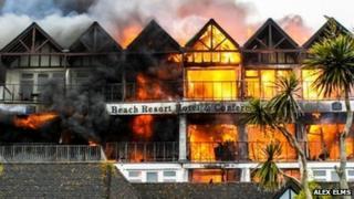 Falmouth Beach Hotel fire: Pic Alex R Elms