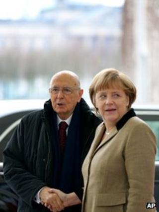 Italian President Giorgio Napolitano with Chancellor Merkel (28 Feb 2013)