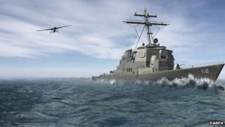 Drone with military ship