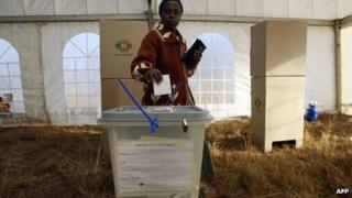 A Zimbabwean votes in the 2008 election