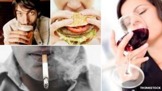 Composite image of drinking, eating and smoking