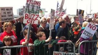 Protesters outside the Senedd