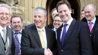 Mike Thornton MP (left centre) with Deputy Prime Minister Nick Clegg outside the Houses of Parliament, Westminster, after his recent victory in the Eastleigh by-election.