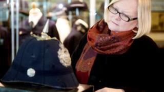 Karen Hancox with the helmet belonging to her great-great Uncle