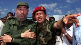 Hugo Chavez and Fidel Castro, 28 October 2000