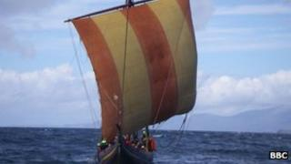 A reconstructed Viking ship