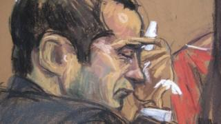Former New York City police officer Gilberto Valle listens as wife Kathleen Mangan testifies in this courtroom sketch on the first day of his trial in New York 25 February 2013