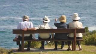 Older people on bench