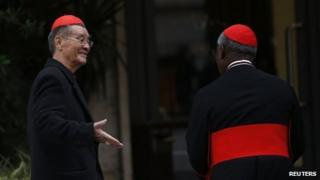 Vietnamese Cardinal Jean-Baptiste Pham Minh Man greets Cardinal Francis Arinze of Nigeria as they arrive for a meeting at the Vatican