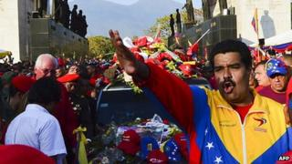 Nicolas Maduro in front of the hearse carrying the body of Hugo Chavez