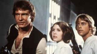 Harrison Ford, Carrie Fisher and Mark Hamill in the original Star Wars film