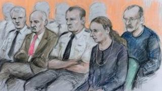The defendants in court