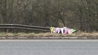 Floral tributes at the accident site